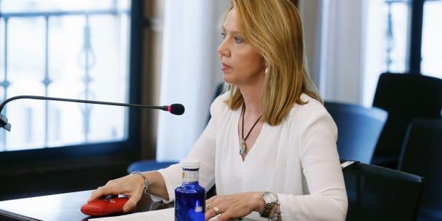La auditora de la Cámara de Cuentas andaluza, Nuria Mendoza, este lunes declarando en la Audiencia de Sevilla.