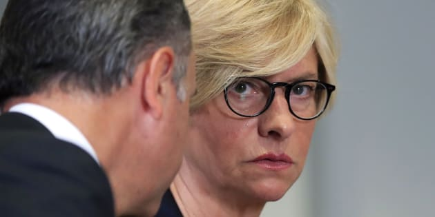 Italy's Defense Minister Roberta Pinotti, listens to Italian Ambassador to the U.S. Armando Varricchio, during a meeting with Defense Secretary Jim Mattis, Tuesday, July 11, 2017, during their meeting at the Pentagon. (AP Photo/Manuel Balce Ceneta)