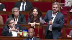 Contre la baisse des APL, Corbière et Mélenchon exposent 5€ de courses à