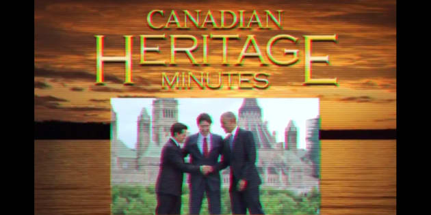 "A screenshot from a Tory-backed spoof of ""Heritage Minutes."""
