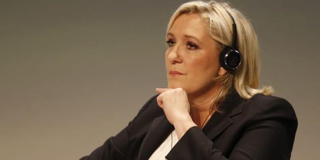 Marine Le Pen en janvier 2016 au sommet Europe des nations et des libertés de Milan (AP Photo/Antonio Calanni)