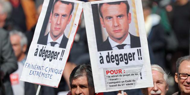 Des manifestants contre la loi travail, Paris, le 12 septembre 2017.