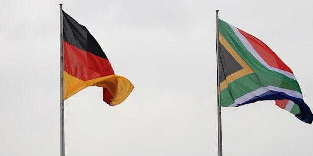 The national flags of Germany (left) and South Africa.