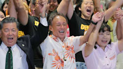 「これ以上、新しい基地は造らせない」。沖縄県知事選で初当選した玉城デニー氏、辺野古移設反対を強調