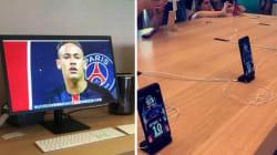 Ce fan du PSG change tous les fonds d'écran de l'Apple Store de Barcelone avec des photos de