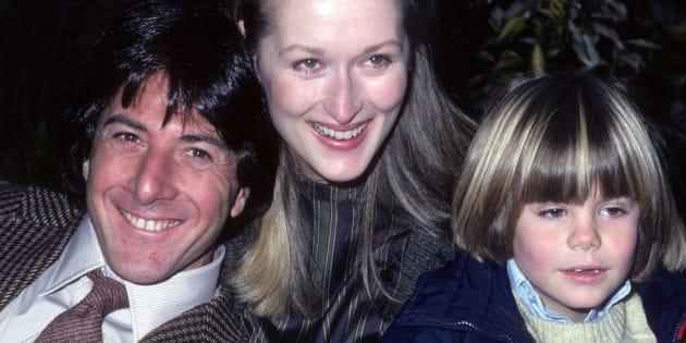 Dustin Hoffman, Meryl Streep y Justin Henry, en la presentación de 'Kramer contra Kramer'.