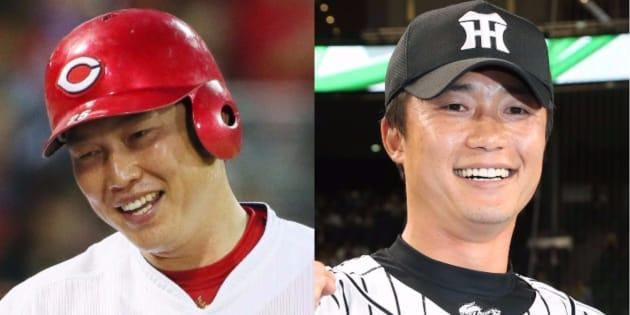 広島の新井貴浩(左)と、引退を決めた弟の阪神、新井良太