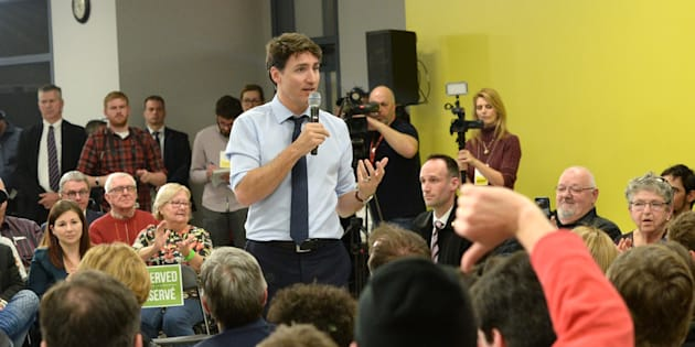 Prime Minister Justin Trudeau participates in a town hall Q&A in Saint-Hyacinthe, Que. on Friday.
