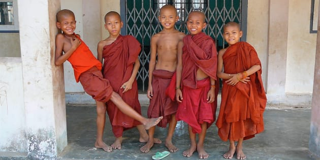 Young Buddhist monks in Mon Village outside Yangoon, Myanmar