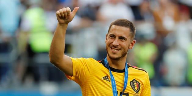 Eden Hazard après Belgique-Angleterre à Saint-Pétersbourg lors du Mondial le 14 juillet 2018.