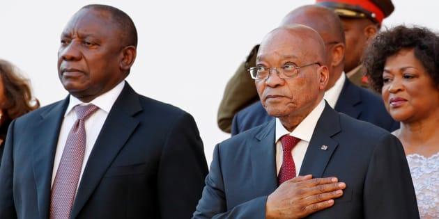 President Cyril Ramaphosa and his predecessor, Jacob Zuma.