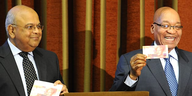 Throwback to happier times with Pravin Gordhan as South African Finance Minister and Jacob Zuma announcing a new line of bank notes on 11 February, 2012.