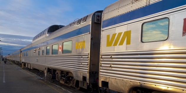A VIA Rail train waiting at the platform in Edmonton.