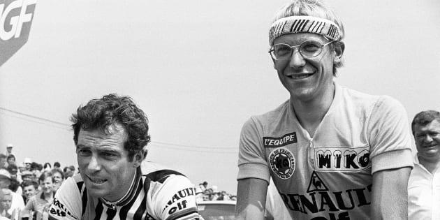 Bernard Hinault et Laurent Fignon, têtes d'affiche de l'équipe Renault, au Critérium de Callac en 1983.