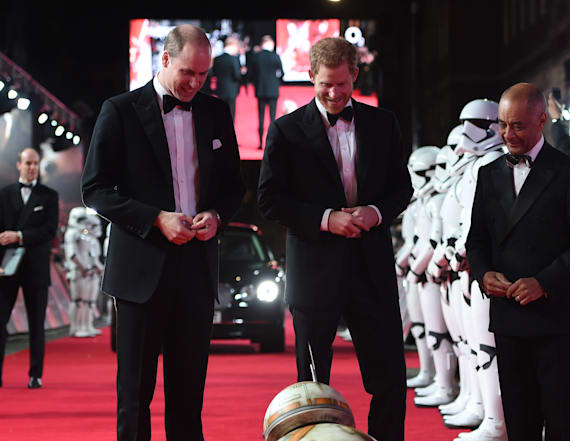 BB-8 greets Prince William and Prince Harry