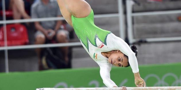 Indian woman gymnast Dipa Karmakar participates at the Rio Olympic 2016 in Rio de Janeiro, Brazil on Sunday.