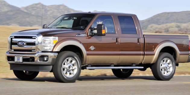 The Ford  2011 F-250 Super Duty Power Stroke diesel pickup truck is driven during a media test drive in Prescott, Ariz., on Tuesday, March 2, 2010.
