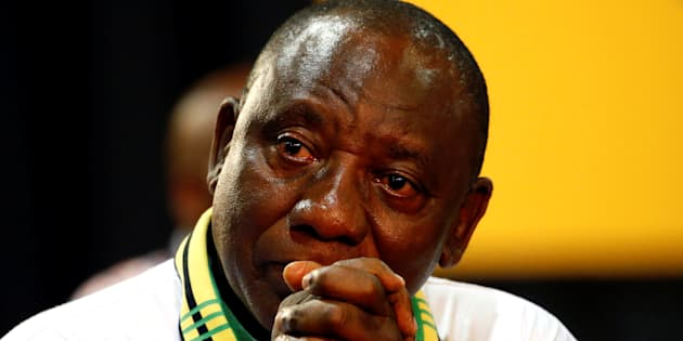 Deputy president of South Africa Cyril Ramaphosa reacts after he was elected president of the ANC during the 54th National Conference of the ruling African National Congress (ANC) at the Nasrec Expo Centre in Johannesburg, South Africa December 18, 2017.