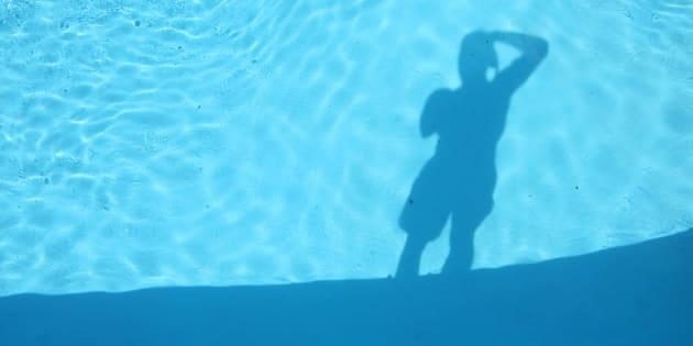 Selfie at pool.