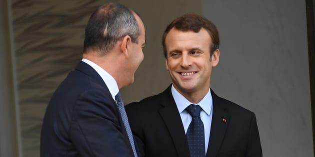 Emmanuel Macron face au chef de file de la CFDT Laurent Berger.