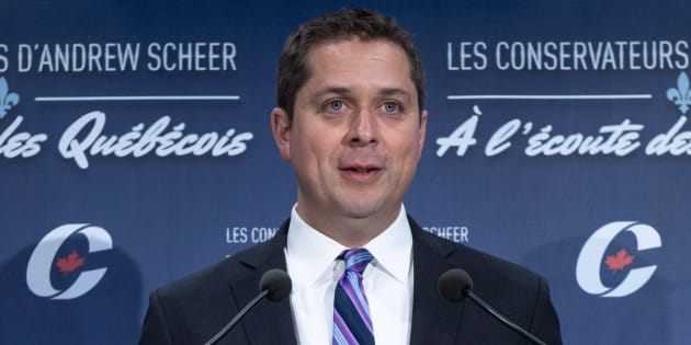 Conservative Leader Andrew Scheer responds to a question during a news conference on April 19, 2018 in Montreal.