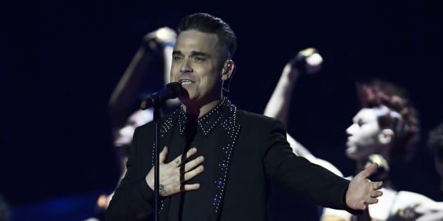 Robbie Williams lors des Brit Awards à Londres en 2017.