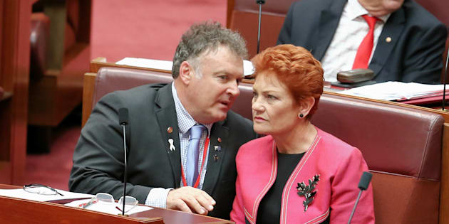 Happier times? One Nation Senators Rod Culleton and Pauline Hanson during a Senate vote in November