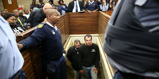 Theo Jackson and Willem Oosthuizen during an earlier appearance at the Middelburg Magistrates Court for allegedly assaulting and forcing a farm worker, Rethabile Victor Mlotshwa into a coffin on 16 November 2016 in Mpumalanga, South Africa.