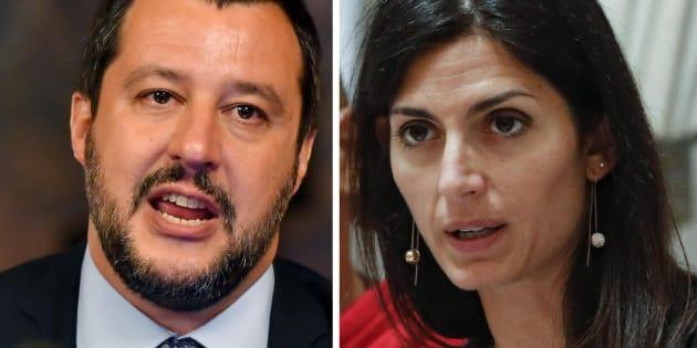 Il ministro dell'Interno, Matteo Salvini, in occasione della sottoscrizione del Protocollo d'intesa per le attivit� antincendio boschivo a tutela delle Aree Protette Statali, Roma, 09 luglio 2018. ANSA/ALESSANDRO DI MEO