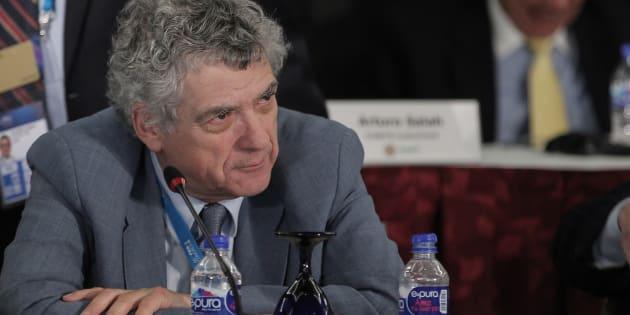 Ángel María Villar, durante el Congreso Extraordinario de la Conmebol celebrado en 2016 en Ciudad de México.