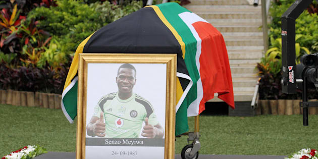 The coffin of the late Senzo Meyiwa during his funeral service at Moses Mabhida Stadium.