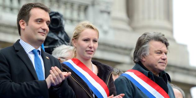 Florian Philippot, Marion Maréchal-Le Pen et Gilbert Collard le 1er mai 2013 à Paris