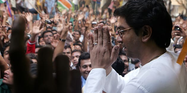 MNS leader Raj Thackeray greeting well wishers at his residence.