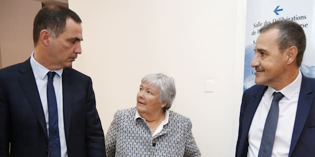 La ministre Jacqueline Gourault lors de sa rencontre avec les dirigeants nationalistes Gilles Simeoni et Jean-Guy Talamoni.
