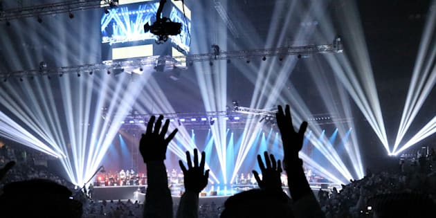 Le concert de Mohammed Abdo, la star saoudienne comparée à Paul McCartney, à Jeddah le 30 janvier 2017.