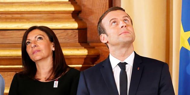 Emmanuel Macron et Anne Hidalgo au mois de mai à l'Hôtel de Ville de Paris