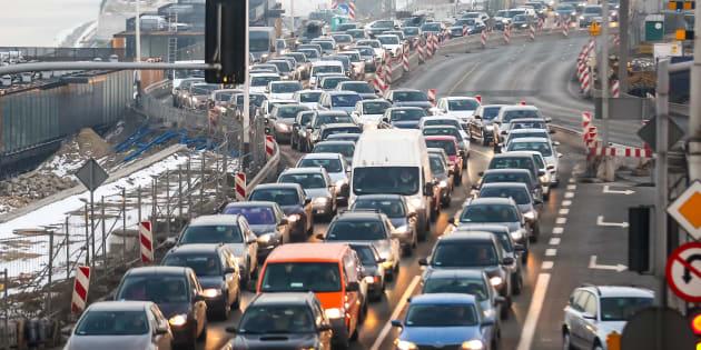Traffic jams on the Wybrzeze Kosciuszkowskie Street seen on February 14, 2017, in Warsaw, Poland.