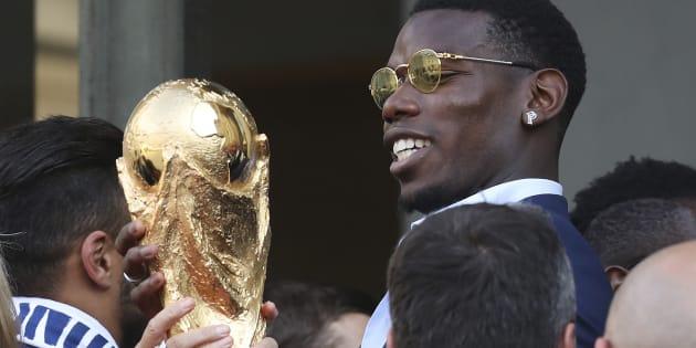 Paul Pogba et les champions du monde français reçus au Palais de l'Élysée le 16 juillet 2018