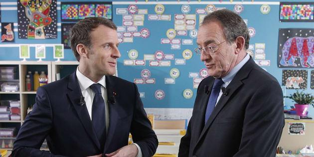 Emmanuel Macron et le présentateur du 13h de TF1 Jean-Pierre Pernaut.