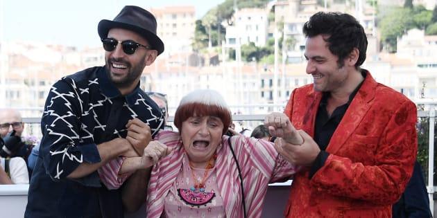 JR, Agnes Varda et Matthieu Chedid à Cannes le 19 mai 2017.