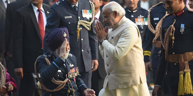 Prime Minister Narendra Modi greets Marshal of the Indian Air Force, Arjan Singh, during 'At Home' reception at President's House, on January 26, 2016 in New Delhi, India.