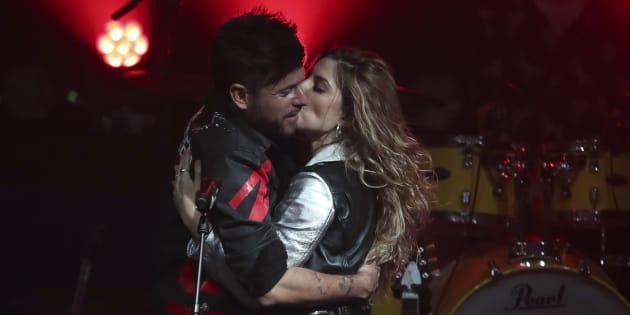 Pablo López y Miriam Rodríguez, en un concierto el 11 de enero en Madrid.