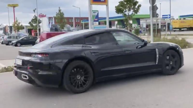 Porsche Taycan prototype spied with frunk