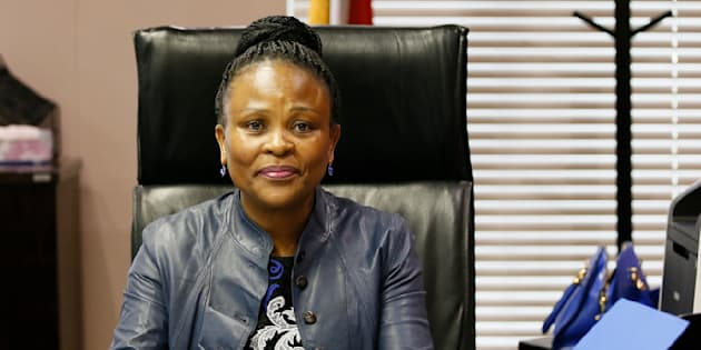 South Africa's Public Protector Busisiwe Mkhwebane poses in her office after a press briefing releasing reports on various investigations on June 19, 2017 in Pretoria.