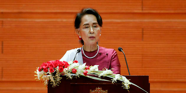 Myanmar State Counselor Aung San Suu Kyi delivers a speech to the nation over Rakhine and Rohingya situation, in Naypyitaw, Myanmar September 19, 2017.