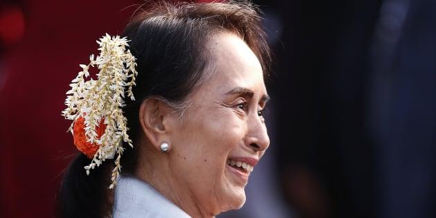 Aung San Suu Kyi à New Delhi le 26 janvier 2018.