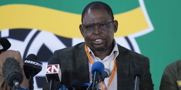 Enoch Godongwana addresses the media during the ANC's national policy conference at the Nasrec Expo Centre on July 05 2017 in Johannesburg.