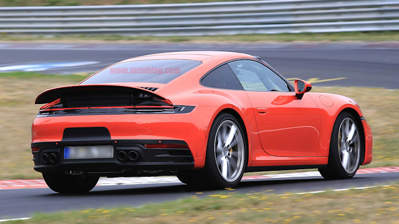 2020 porsche 911 carrera 992 spied with large active spoiler autoblog. Black Bedroom Furniture Sets. Home Design Ideas