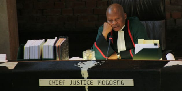 Chief Justice Mogoeng Mogoeng presides over the Constitutional Court in Johannesburg