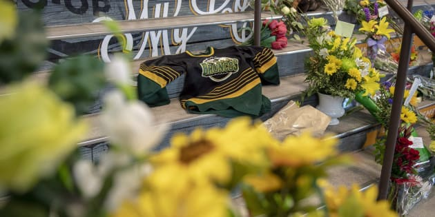 A memorial at the stairs that lead to Elgar Petersen Arena is shown in Humboldt, Sask., on April 7, 2018.